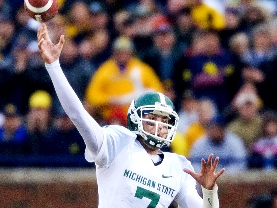 MSU quarterback Brian Hoyer passes during the Spartan's game agasint Michigan.