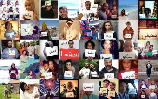Jamila El Sahili's ongoing postcard art project has allowed her to create more than 2,000 postcards for people all over the world that contain their name, written in Arabic. Those who receive them in turn send her a photo of them with the postcard.