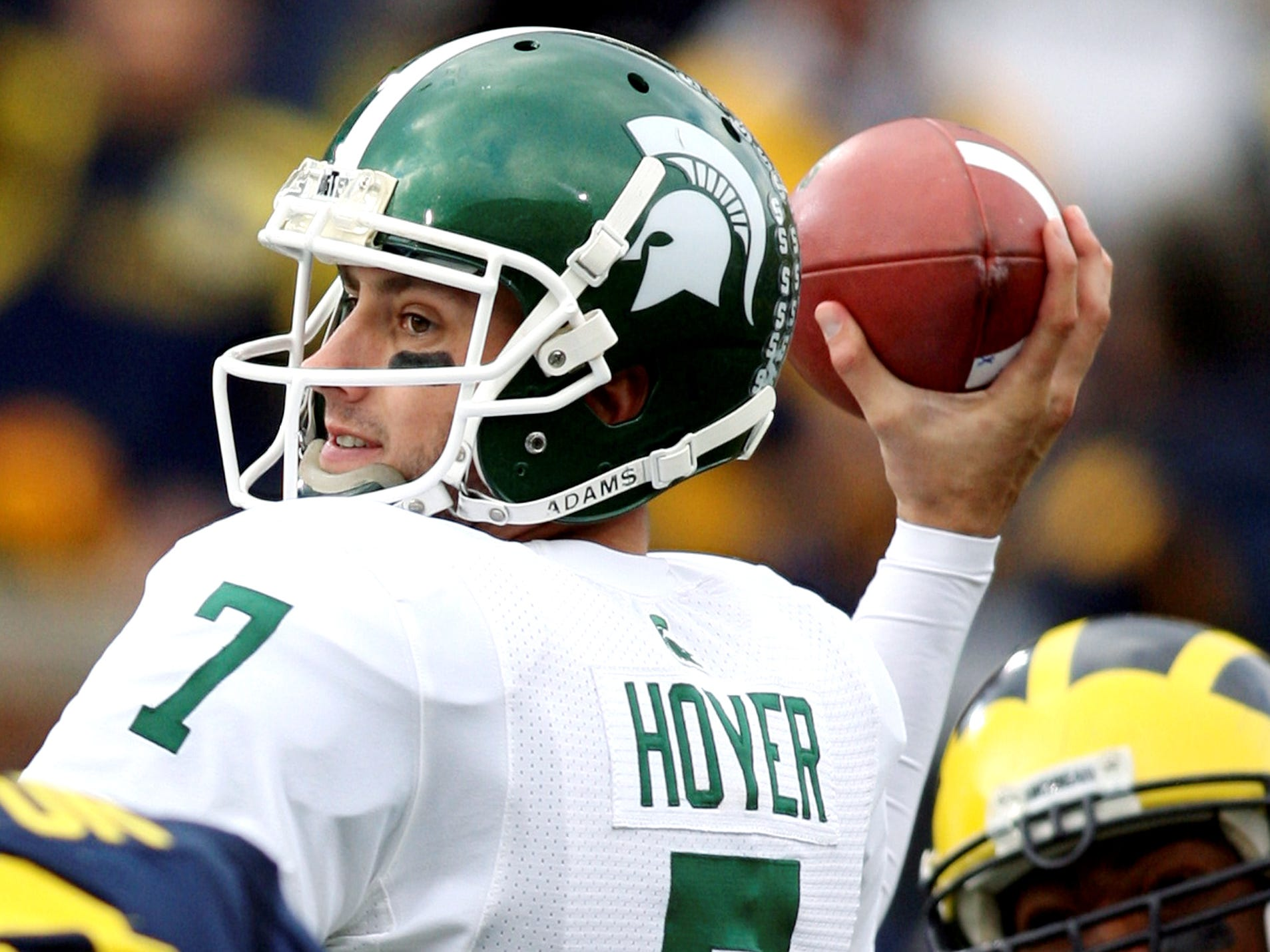 Michigan State quarterback Brian Hoyer (7) looks downfield during the first quarter of an NCAA college football game against Michigan in Ann Arbor, Mich., Saturday, Oct. 25, 2008.