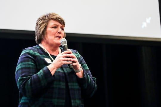 October 15 2018 - Alderman - Position 1 Maureen J. Fraser, incumbent, speaks during a Leadership Collierville forum on Monday night.