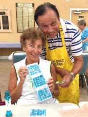 Nina Wasielesky with Bingo committee member Stephen Chasin, was a big winner at JCMI's Monday Night Bingo. Monday Night Bingo is at the Jewish Congregation of Marco Island, 991 Winterberry Road, for its 20th year. A complimentary supper is served to each player-kosher hot dog, pickles, sauerkraut, relish, and onions served on a special roll. In addition, pastry, ice-cream, fruit, coffee and tea are served free of charge. Doors open at 5:30 p.m. Bonanza is posted at 6:15 and the game is called at 7. Hot ball brings additional prize money. The game is open to the public. Information: 239-642-0800.