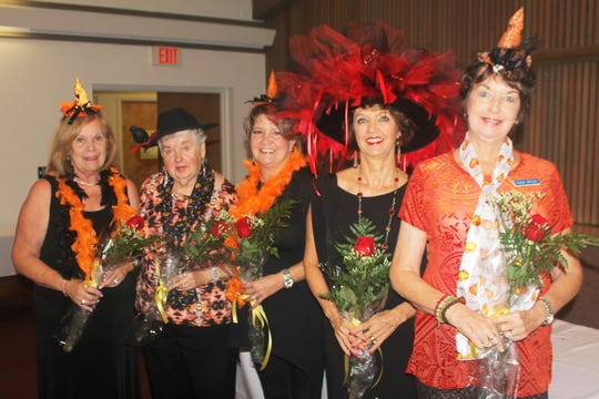 Birthday witches are Audrey Calzone, Yvonne Hall, Deborah Schroeder, Candy Seward and Dianne Wetjen.