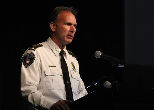 Franklin Police Chief Rick Oliva talks during a Heroin In The Suburbs program at Franklin High School in September 2014.