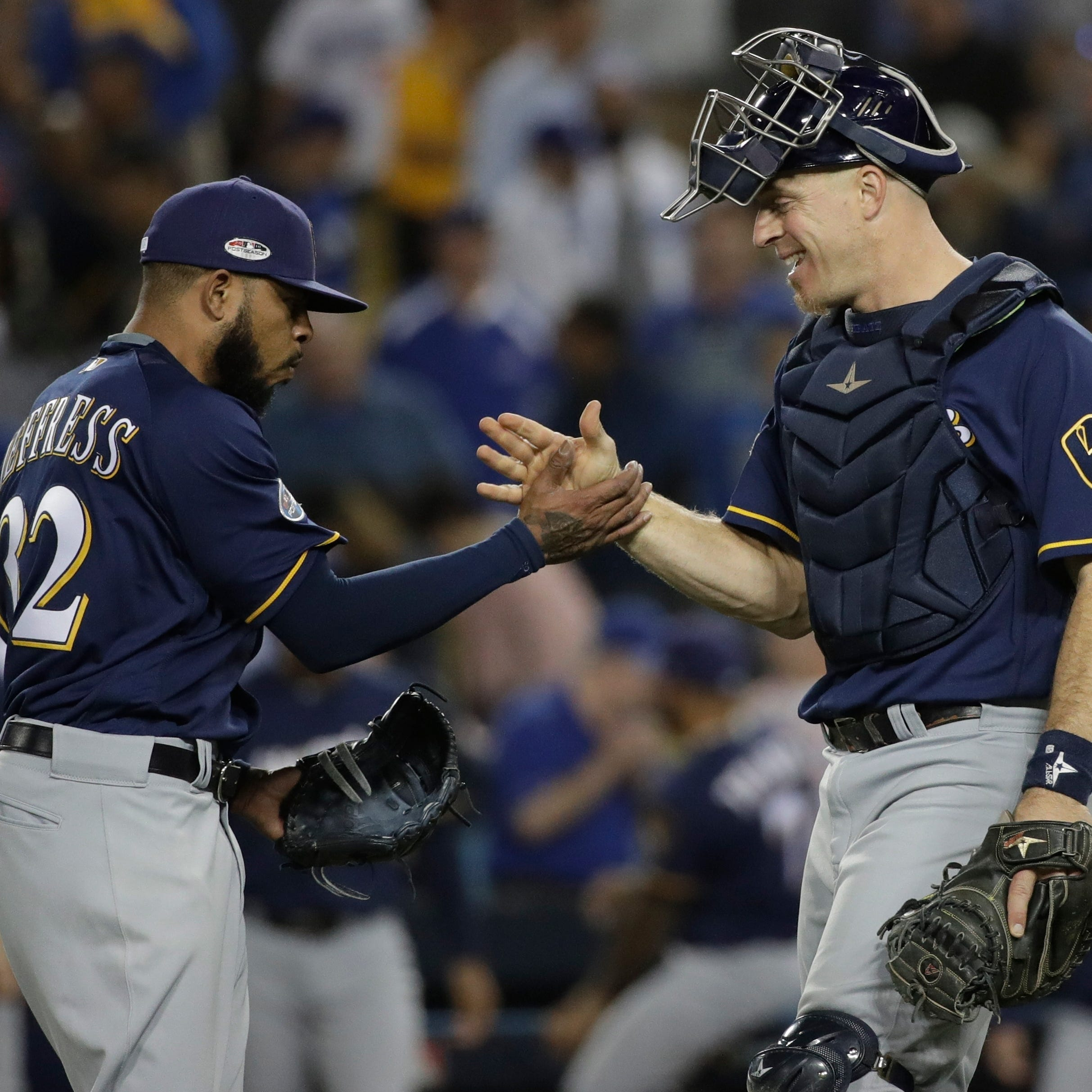 Here's another reason to love Brewers catcher Erik Kratz: an intentional face-plant during a pregame intro