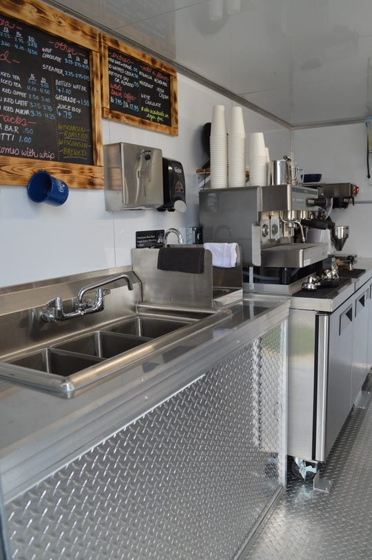 The coffee trailer was created by Caged Crow Fabrication in St. Germain.