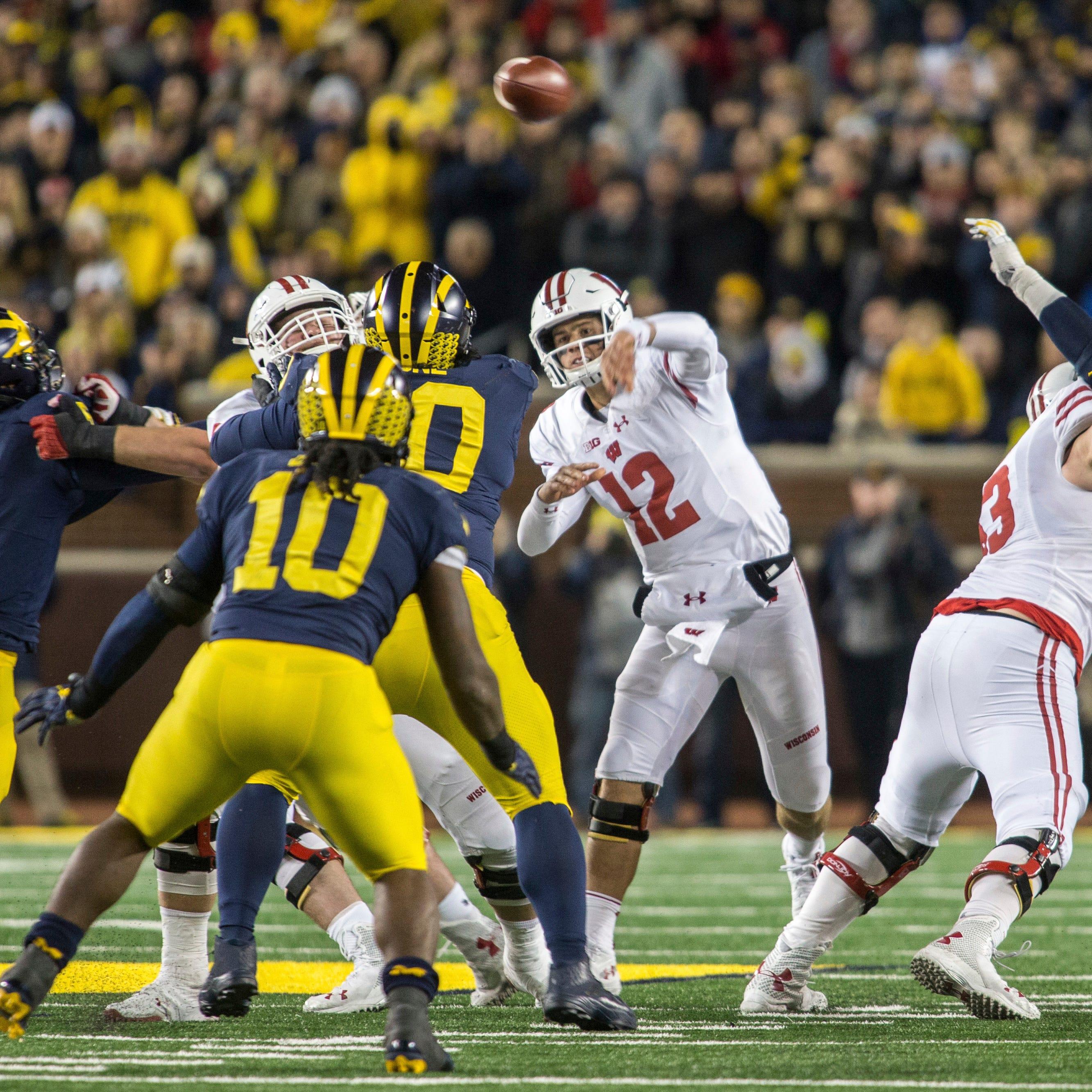 Wisconsin quarterback Alex Hornibrook (12) throws...