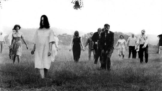 "Zombies are among us, and they're not fooling around, in George Romero's ""Night of the Living Dead"" from 1968."