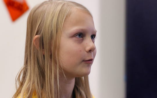 Seventh grader Lauren Akers talks about her learning experience at Kettle Moraine Middle School on Oct. 16.