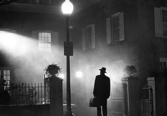 "Max von Sydow begins his struggle to drive out a demon in William Friedkin's ""The Exorcist."""