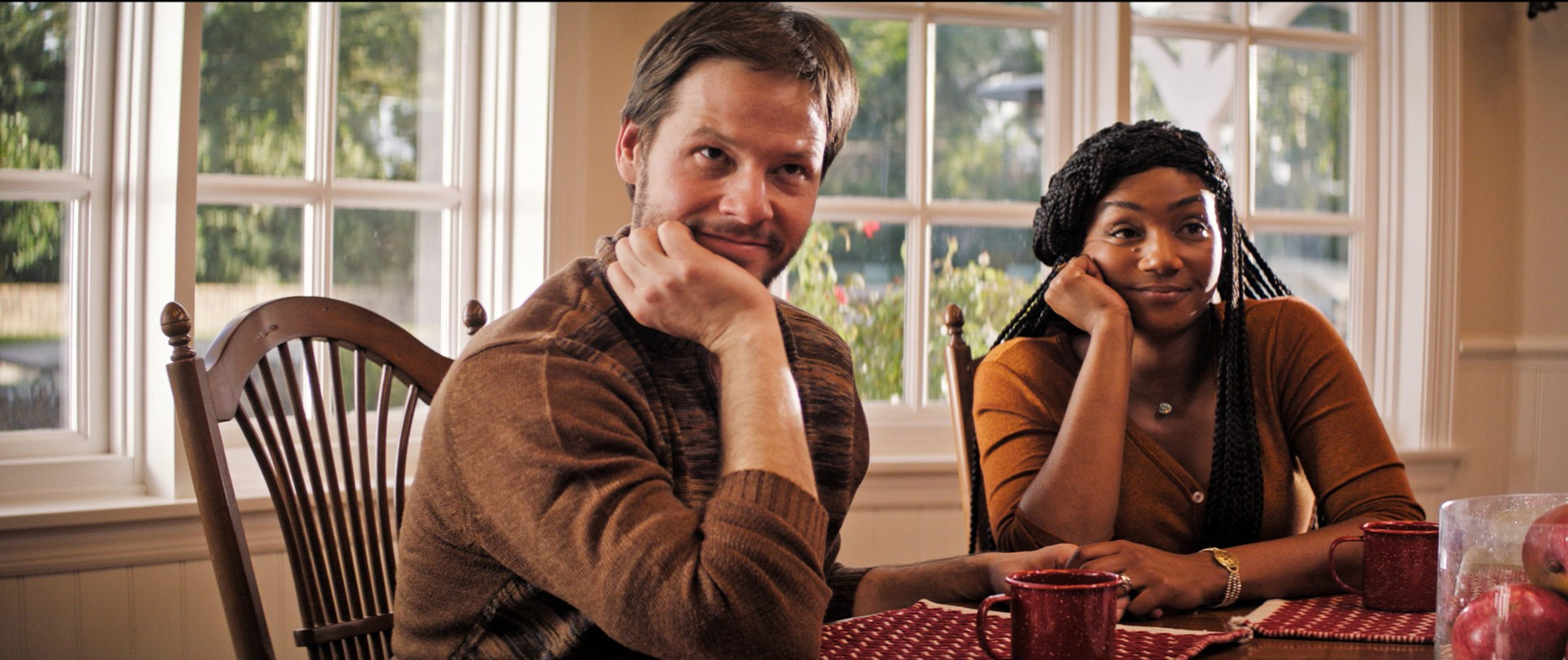 """Ike Barinholtz (left) and Tiffany Haddish play a couple whose trip to a family Thanksgiving goes horribly awry in the dark comedy """"The Oath."""""""