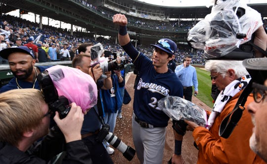 Christian Yelich celebrates after the Brewers win the division on Oct. 1, 2018.