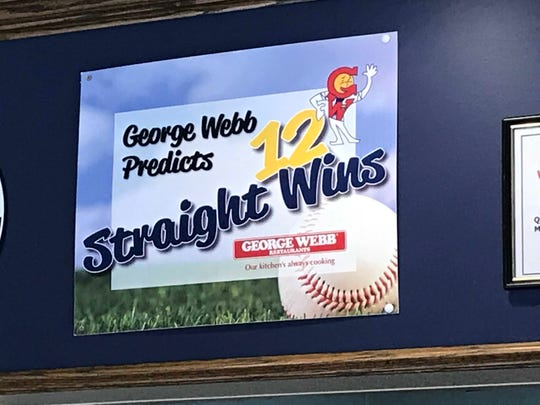 Signs in all George Webb restaurants in southeastern Wisconsin proclaim the prediction that the Brewers would win 12 straight games. That came true on Oct. 12, 2018.