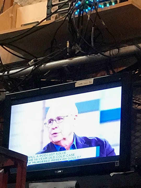 "Mountain Home dentist Dr. Larry Gould is shown in a monitor backstage Oct. 10 at a taping of ""The Dr. Oz Show"" in New York City. The episode, which aired nationally Tuesday, dealt in part with the murder of Rebekah Gould, Larry Gould's daughter."
