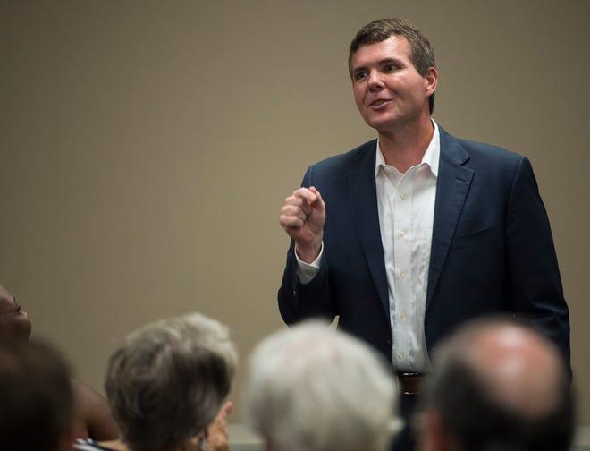 Democratic gubernatorial nominee Walt Maddox speaks during the Montgomery County Democrats meeting in Montgomery, Ala., on Monday, Oct. 15, 2018.