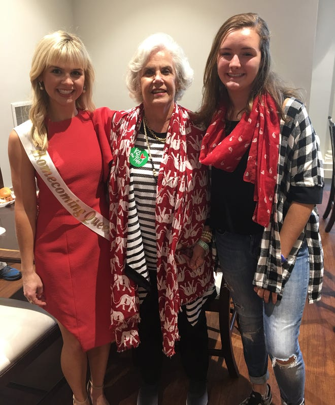 Alabama Kappa Delta's past, present and future. From left, 2018 Alabama homecoming queen Katie Buhai, Colley Griffin (Kappa Delta in 1970) and niece Virginia Wood.