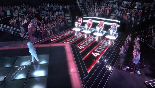 "All four of the coaches' chairs turned during Kirk Jay's performance on ""The Voice."""
