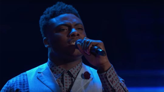 "Kirk Jay performs on the Oct. 8 episode of NBC's ""The Voice."""
