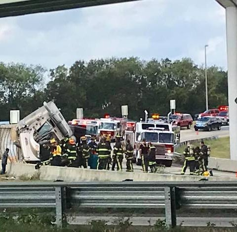 I-85 North on-ramp reopens after tractor-trailer overturns