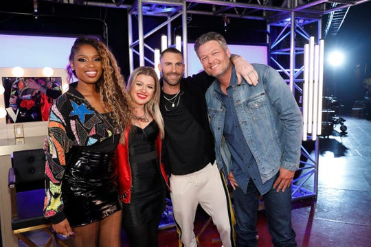 """The Voice"" coaches, from left,  Jennifer Hudson, Kelly Clarkson, Adam Levine, Blake Shelton."