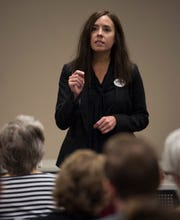 Democratic candidate for Alabama Secretary of State Heather Milam speaks during the Montgomery County Democrats meeting in Montgomery, Ala., on Monday, Oct. 15, 2018.