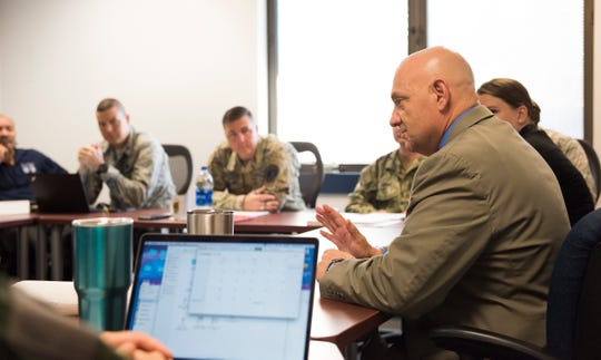 Dr. Melvin Deaile teaches a class of students enrolled in The School of Advanced Nuclear Deterrence Studies at Air Command and Staff College, September 19, 2018. Students are immersed in deterrence theory as well as the technical and strategic aspect of nuclear operations. Deaile, a 2017 Air Education and Training Command educator of the year, is the director of SANDS, which recently moved from Kirtland Air Force Base, New Mexico, to Air University.