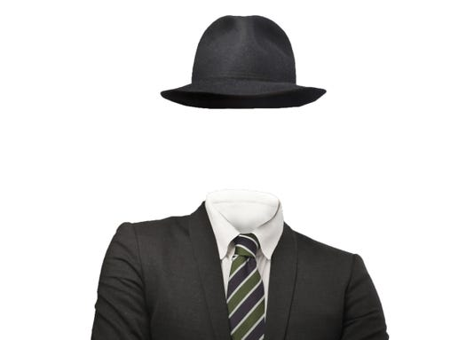 Drawing Of An Invisible Man Wearing A Suit And Hat