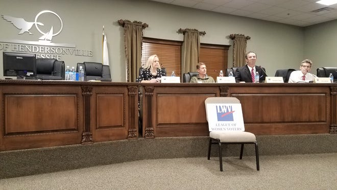Hendersonville Ward 1 candidates Peg Petrelli and Eric Sitler and Ward 5 candidates Johnathan Hayes and Chris Spencer shared their views at the alderman forum held by League of Women Voters Hendersonville Oct. 15, 2018.