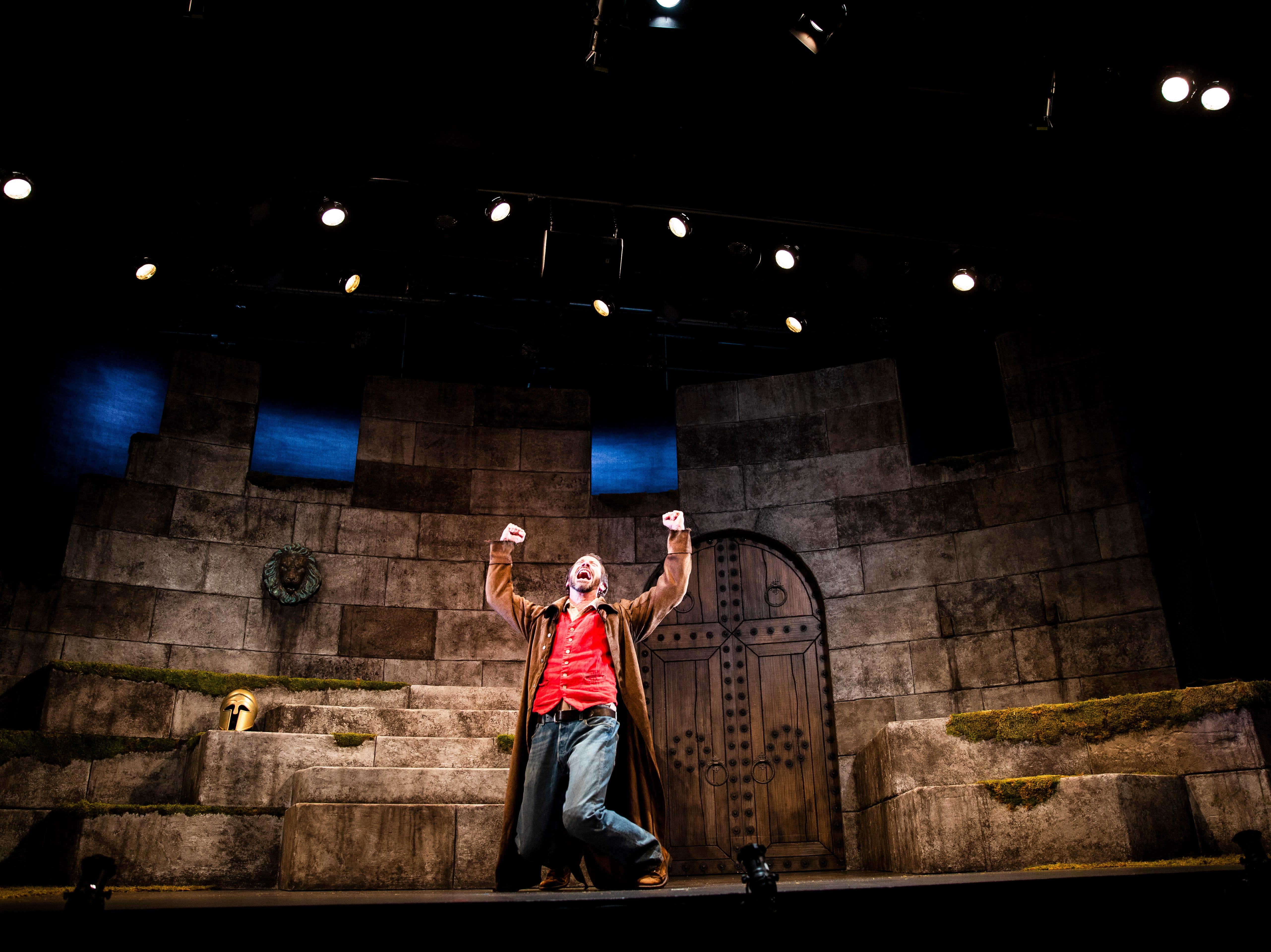 "Jeffrey Binder rehearses his one-man performance for Gulfshore Playhouse's upcoming production of ""An Iliad"" at The Norris Center in Naples on Tuesday, Oct. 16, 2018."