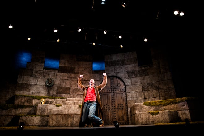 """Jeffrey Binder rehearses his one-man performance for Gulfshore Playhouse's upcoming production of """"An Iliad"""" at The Norris Center in Naples on Tuesday, Oct. 16, 2018."""