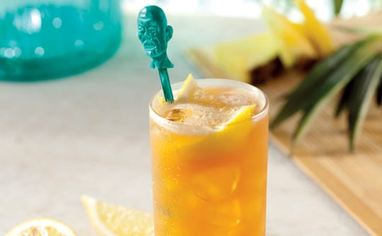 Bahama Breeze's Zombie is a combination of Bacardi Black and Barbancourt rums with Peach Schnapps.