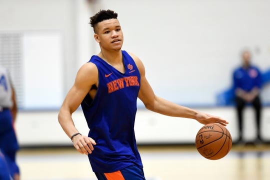 New York Knicks' Kevin Knox dribbles the ball during practice on Tuesday, Oct. 16, 2018, in Greenburgh, N.Y.