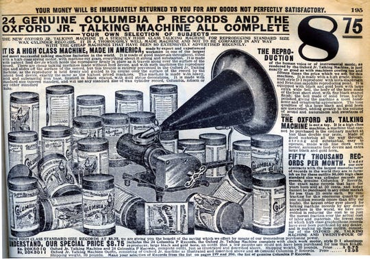"In 1908, Sears Roebuck was in the groove. And the groove came in two formats: cylinder, and disc. This 1908 phonograph could play such chart-toppers as ""Snyder, Does Your Mother Know You're Out"" and ""McManus and His Parrot."""