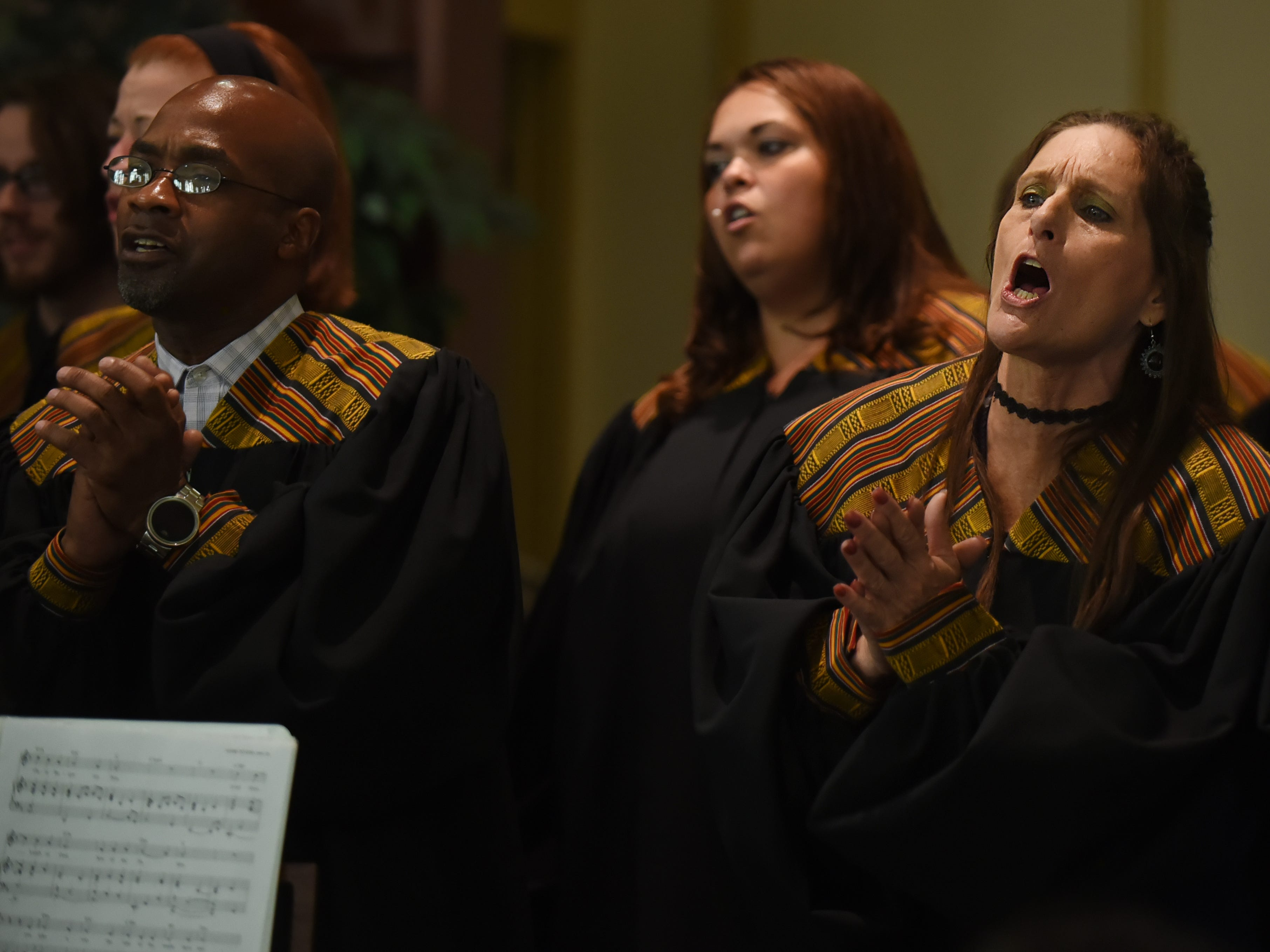 Darlene Walsh, an alumna of Straight & Narrow and a singer in its gospel choir, during a performance at St. Joseph's Roman Catholic Church in Lincoln Park on Sunday, Oct. 14, 2018.