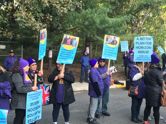 Employees of Horizon House in Fort Lee rally for a contract on Oct. 16.