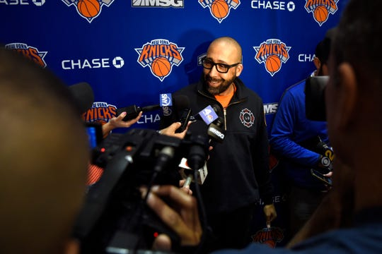 New York Knicks head coach David Fizdale talks to reporters after practice on Tuesday, Oct. 16, 2018, in Greenburgh, N.Y.