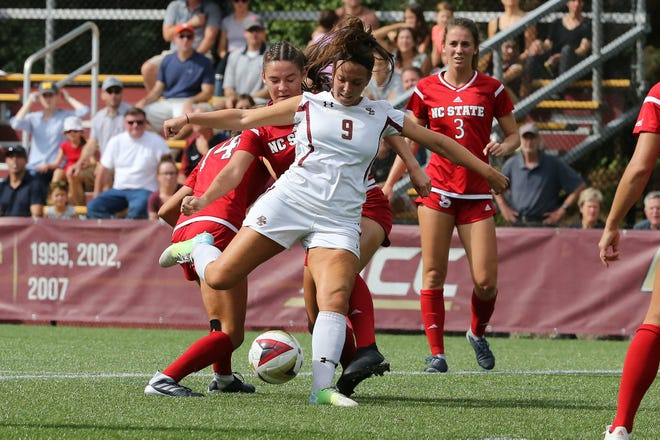 Boston College's Carly Leipzig (9), a former star at Northern Highlands.