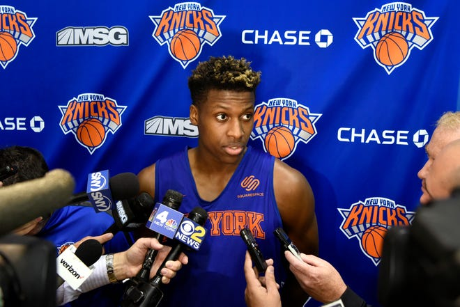 New York Knicks' Frank Ntilikina talks to reporters after practice on Tuesday, Oct. 16, 2018, in Greenburgh N.Y.