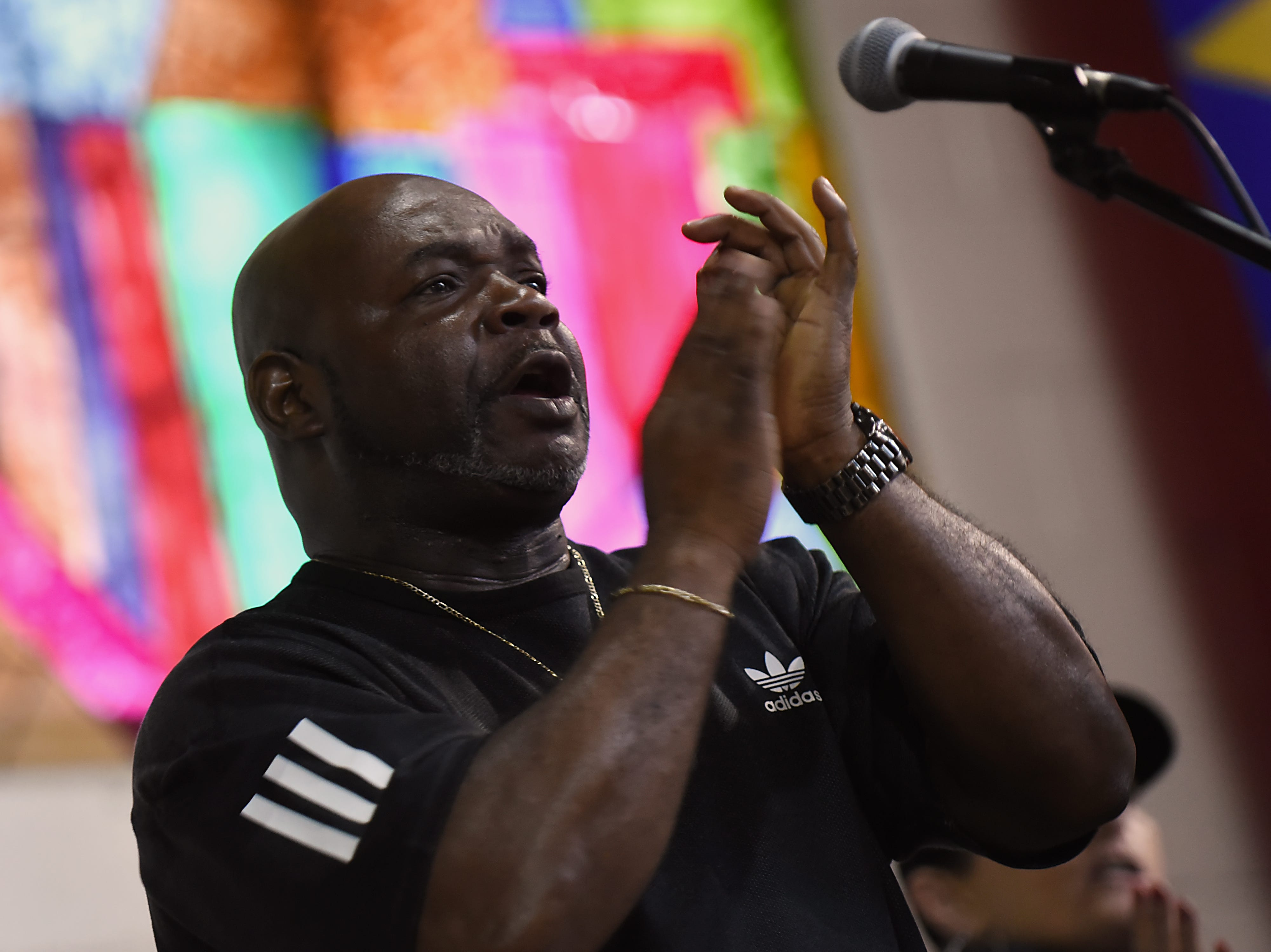Irv DeBois sings in the Straight & Narrow Gospel Choir during a rehearsal in Paterson on Saturday, Oct. 13, 2018.
