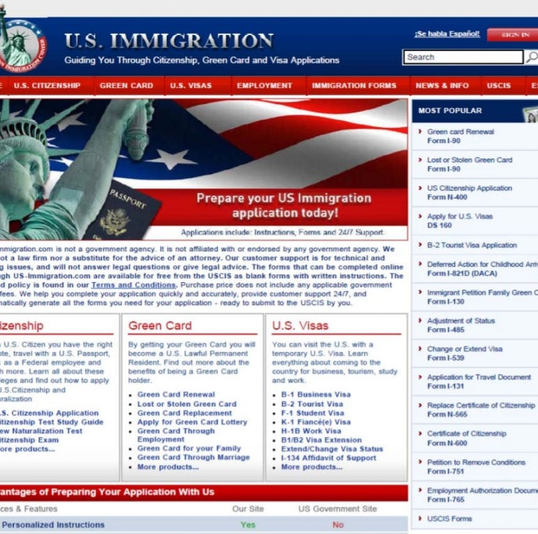These websites allegedly charged hundreds for free immigration forms