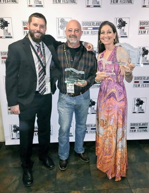 "Borderlands Film Festival CEO David Witt, director of ""When I Sing"" Robin Russin, of Los Angeles, and writer/producer/star Linda Chorney, of Tucson, Ariz. at the after-party at Dragonfly restaurant. ""When I Sing"" won Best Screenplay, Best U.S. Feature, and Grand Jury Award."