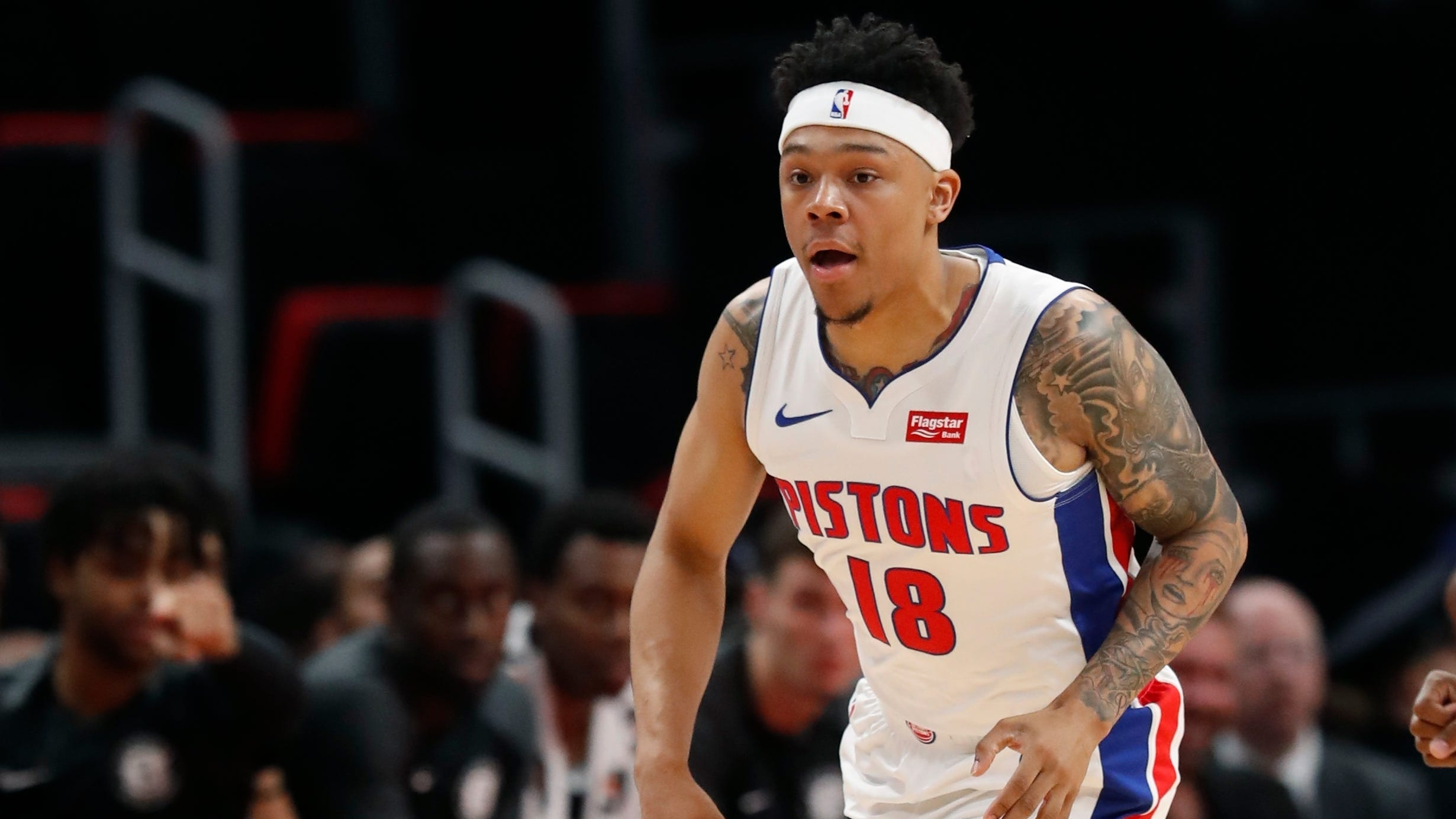 Detroit Pistons guard Zach Lofton brings the ball up court during the second half of an NBA preseason basketball game against the Brooklyn Nets on Oct. 8.