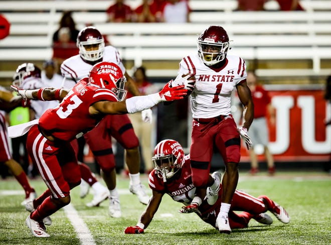 New Mexico State running back Jason Huntley had 373 all-purpose yards in last week's loss at Louisiana.