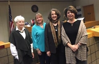 On hand to commemorate 50 years since the inception of district courts in Michigan were (from left) Janet Dillon, widow of Judge John Dillon; retired Judge Charlotte Wirth, Judge Krista Haroutunian, and Judge Karen Khalil. Judge Dillon and the late Judge Robert Brang served as Redford's first district judges, elected in 1968.