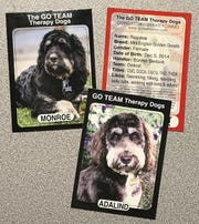 The Barbicks have playing cards for their dogs Monroe, Rosalee and Adalind.