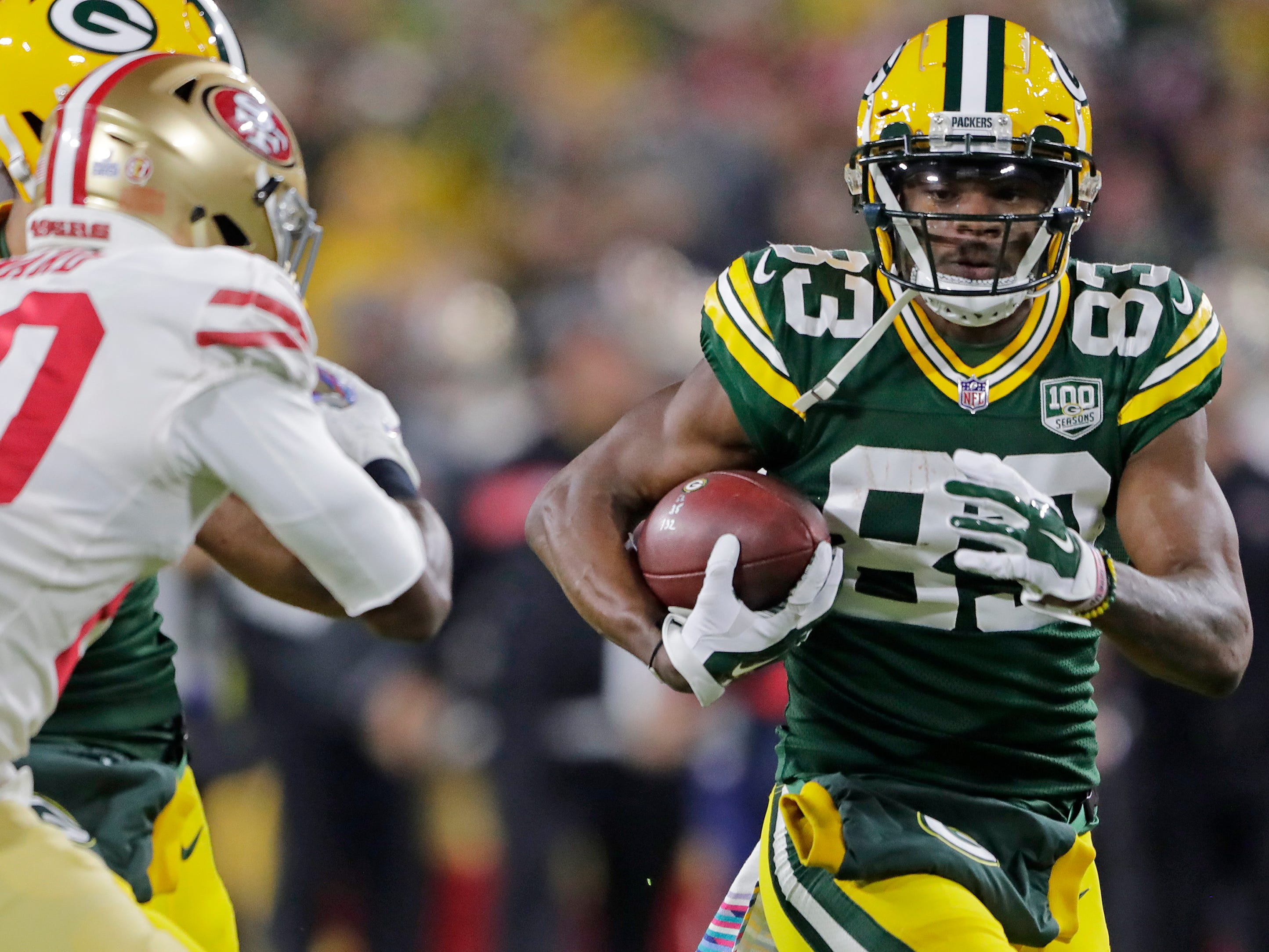 Green Bay Packers wide receiver Marquez Valdes-Scantling (83) runs after a catch against the San Francisco 49ers in the first quarter at Lambeau Field on Monday, October 15, 2018 in Green Bay, Wis.