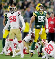 Green Bay Packers tight end Jimmy Graham (80) reacts after a catch against the San Francisco 49ers at Lambeau Field on Monday, October 15, 2018 in Green Bay, Wis.