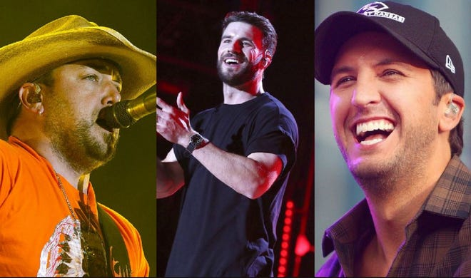 The headliners for Stagecoach 2019: (from left) Jason Aldean, Sam Hunt and Luke Bryan.