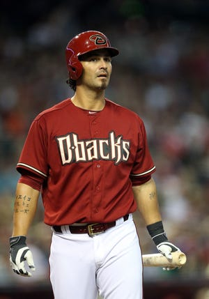 Eric Chavez of the Arizona Diamondbacks at bat during the MLB game against the Los Angeles Dodgers at Chase Field on April 13, 2014 in Phoenix, Arizona.