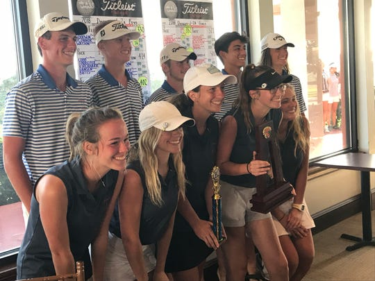 The Pace High boys and girls golf teams celebrate winning titles Tuesday at the District 1-2A Tournament at Tiger Point's East Course.