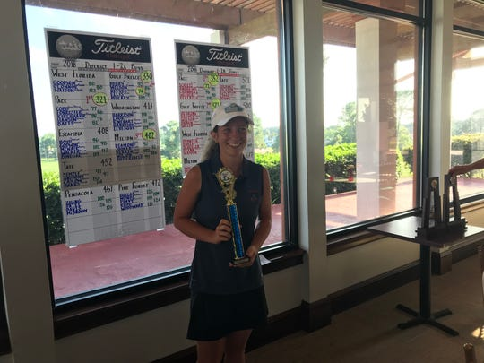 Pace High's Elise Schultz with trophy after winning girls medalist title at Tuesday's District 1-2A girls golf tournament at Tiger Point.